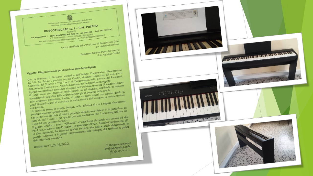 Ringraziamenti per la donazione di un pianoforte digitale